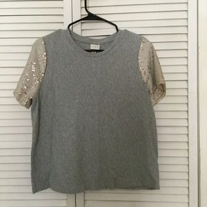 ✨A New Day✨ Gray top with sequined sleeves